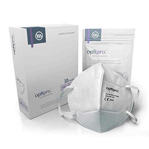 Maschera facciale OptiPro Particulate Respirator (N95 / FFP2) (x10) - Sistema multistrato non tessuto con elevata...