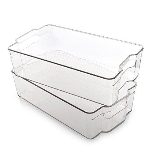 BINO Stackable Plastic Organizer Storage Bins, X-Large - 2 Pack -...