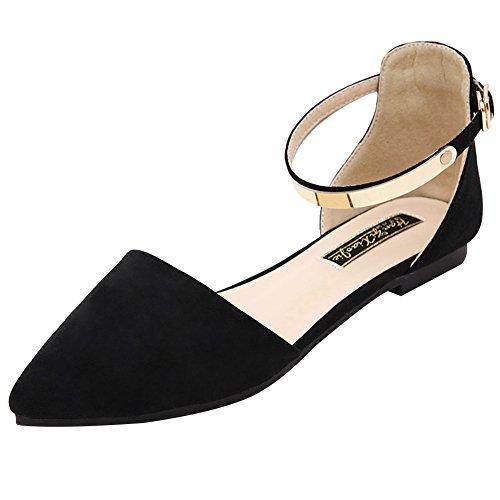 Jamron Mujer Dedo Punteado Terciopelo Bailarinas Elegante D'orsay Pumps Plano Zapatos de Vestir Negro SN02330 EU38