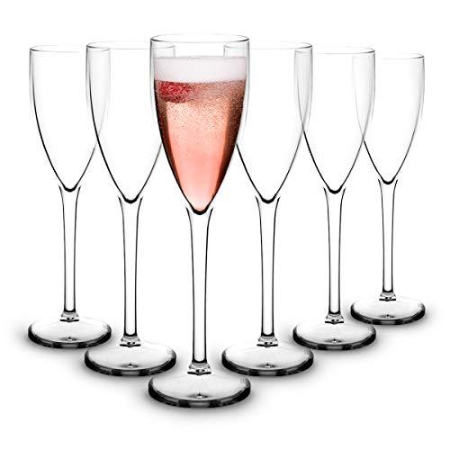 RB Flute Da Champagne Plastica Premium Infrangibile Riutilizzabile 13cl, Set di 6