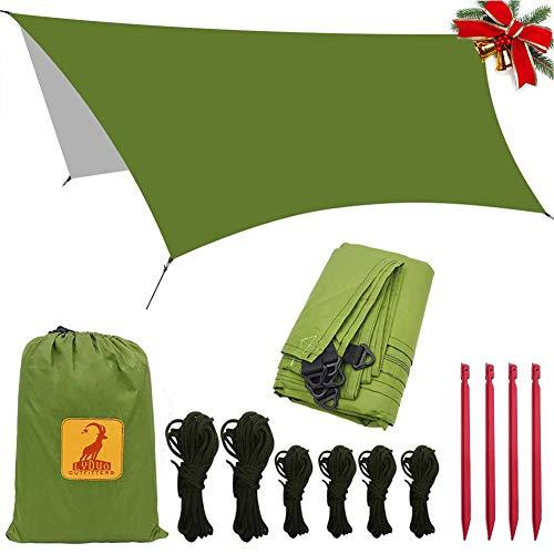 LYDUO Wasserdichter Regen Tarp Camping Zeltplanen, 3m x 3.5m Zelt Shelter Plane Regen Fly Hängematte Tarp, Tragbare Leichte für Camping Outdoor Travel, Grün