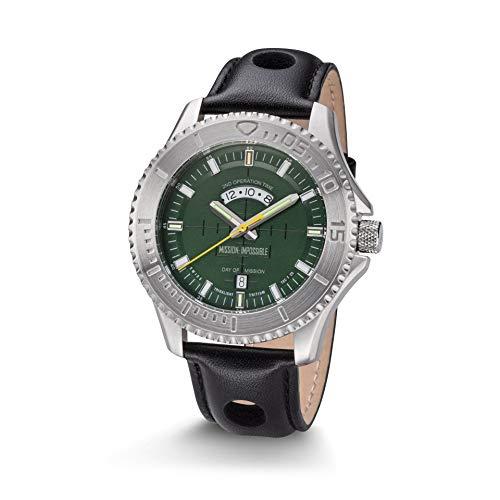 Kronsegler Mission Impossible H3 Tritium Uhr Stahl-Gruen Lederband Schwarz