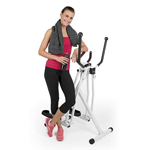 VITALmaxx Trainingsgerät Air Walker | Idealer Crosstrainer für Cardiotraining | Trainingscomputerfür Zeit, Kalorienverbrauch und Strecke | Platzsparend zusammenklappbar [Weiß]