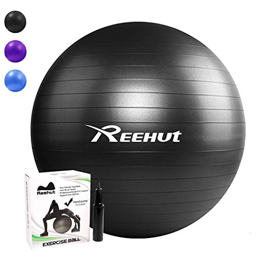 REEHUT Anti-Burst Gymnastikball + Pumpe mit Belastbarkeit bis zu 500kg Core-Training Fitness Yoga Pilates Ball - Schwarz 65CM