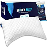 Sidney Sleep Side Sleeper Pillow for Shoulder Pain - 100% Adjustable Loft - Soft Medium Or Firm Curved Memory Foam Bed Pillow - Washable Cooling Bamboo Case - Extra Foam Fill Included (Queen, White)