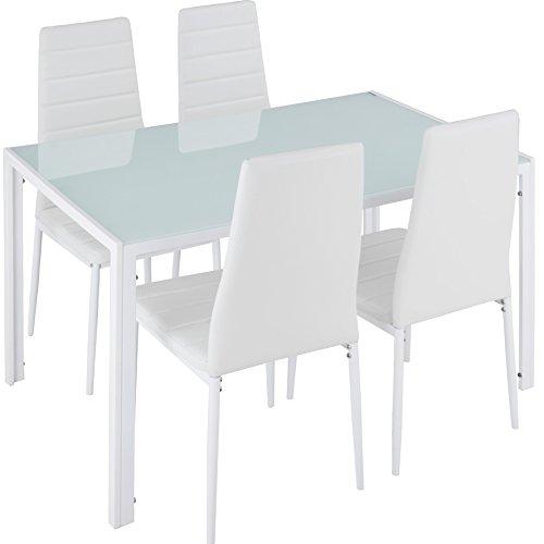 TecTake Tavolo de Pranzo con 4 sedie   Elevato Comfort di Seduta   Robusto Piano del Tavolo in Vetro...
