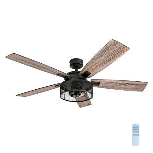 Honeywell Ceiling Fans 50614-01 Carnegie LED Ceiling Fan 52', Indoor, Rustic Barnwood Blades, Industrial Cage Light, Matte Black