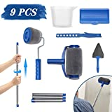 9Pcs Paint Roller Set, LIUMY Paint Runner Kit with 3 Knots Extension Pole,Handle Tool Painting Brush Set for House Wall,School & Office Wall, Ceiling,Quickly Decorate in Just Minutes(Blue)