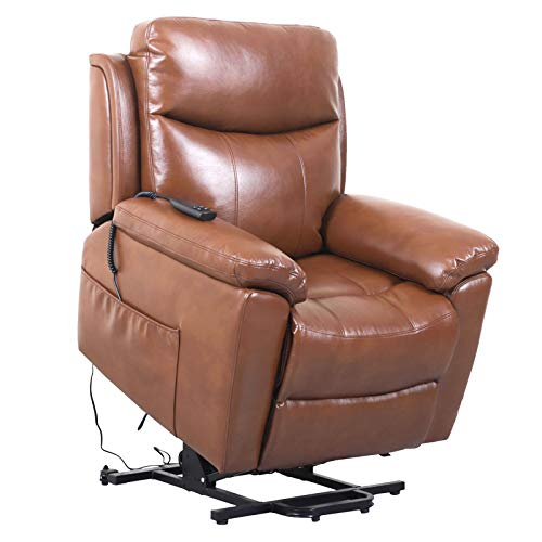 JinMueble Lift Chairs Dual OKIN Motor Lays Flat Electric Power Lift Recliner Chair for Elderly Comfortable Breath Leather Soft and Sturdy (Chocolate Brown)