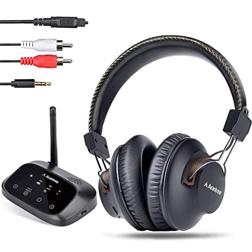 Avantree HT5009 40 Hrs Wireless Headphones for TV Watching w/Bluetooth Transmitter 164ft Long Range - Digital Optical RCA AUX, Headset Hearing & Home Stereo Sound Simultaneously, No Audio Delay