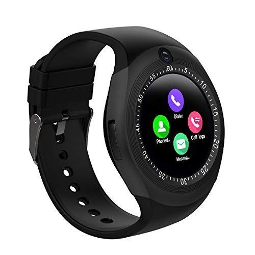 Welltech Bluetooth Smart Watch for All Android Phones and iOS Devices Multi Functional Smartwatch Featured with Sim Card Slot - Y1S (Black)