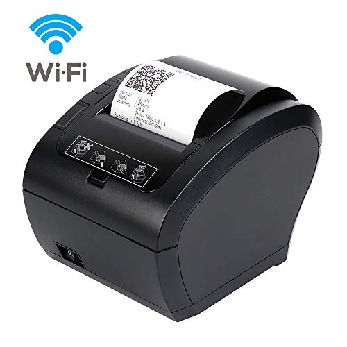 Thermodrucker WiFi Munbyn 300mm/s Bondrucker Belegdrucker Quittungsdrucker Auto-Cut für Schublade, Büro, Restaurant/Hochgeschwindigkeits WiFi USB Ethernet (LAN), ESC/POS eingestellt-EU【WiFi Schwarz】