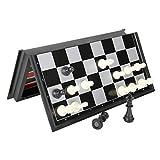 SGSG Ajedrez Juego de ajedrez Internacional Plegable Juego de Damas de Backgammon magnético Juego de Mesa Juego Divertido Colección de Piezas de ajedrez Tablero portátil G