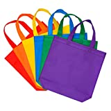 Aneco 24 Pack 11.5 by 11.5 Inches Party Bags Non-Woven Treat Bags Gift Tote Bag Bottom Goodie with Handles for Christmas Kids Birthday Party Favor