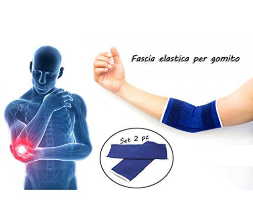 MEDIAWAVE Store Coppia 2 fasce elastiche GOMITO gomitiera sollievo infiammazioni ideale sport