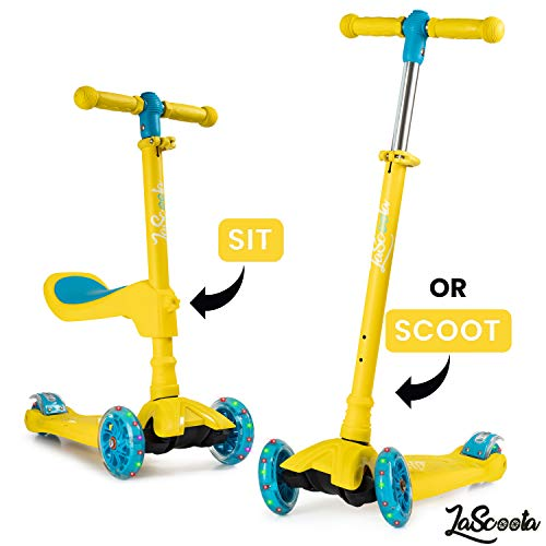 Lascoota 2-in-1 Kick Scooter with Removable Seat Great for Kids & Toddlers Girls or Boys  Adjustable Height w/Extra-Wide Deck PU Flashing Wheels for Children from 2-14 Years Old (Honey)
