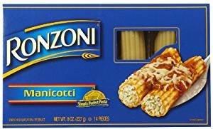 Ronzoni Manicotti 14 Pieces Non GMO 8 Oz. Pack Of 3.