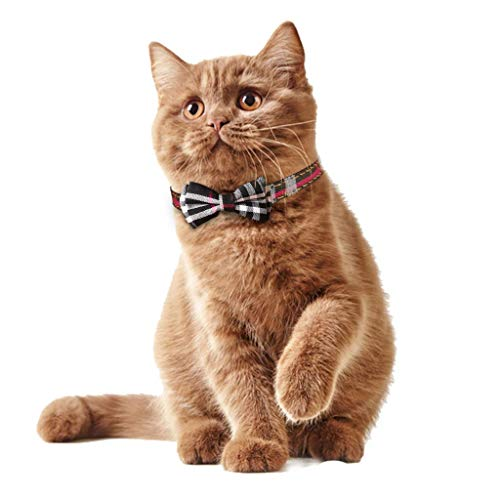 KUDES 2 Pack/Set Cat Collar Breakaway with Cute Bow Tie and Bell for Kitty and Some Puppies, Adjustable from 7.8-10.5 Inch