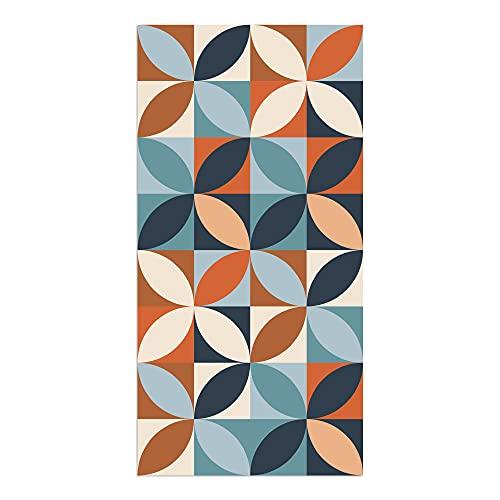 Tappeto vinilico da cucina, geometrico multicolore, 80 x 40 x 0,22 cm, tappeto in vinile di varie dimensioni con fondo antiscivolo, materiale lavabile e ritagliabile, ALV-110