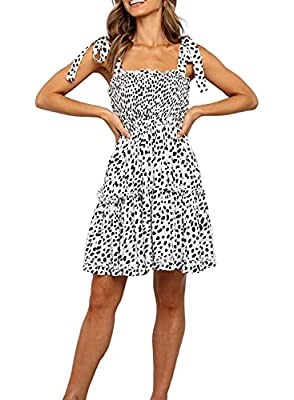 Material: Cotton/Rayon. This dress is super soft, lightwight, easy to line dry, very comfortable to wear for hot days. Breathable, skin-touch, makes you feeling well. Features: Mini Dress, Irregular Polka Dot Print Flowy Dresses and Tie up Straps. Su...
