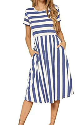 Lateral and vertical stripe splicing,Loose and swing hem The empire waist hides your belly really well, accentuates your curves. The waist of this dress is elastic and suitable for a maternity dress Feminine pocket is deep enough for phone US Size:X-...
