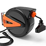 TACKLIFE Extension Cord Reel, 50+4.5ft Retractable, 14AWG, 3C SJTOW, 180°Swivel, Ceiling or Wall Mount-GCR2A