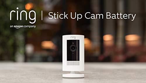 Ring Stick Up Cam Battery di Amazon, videocamera di sicurezza in HD con sistema di comunicazione bidirezionale, compatibile con Alexa   Colore bianco
