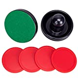 jollylife Black Air Hockey Pushers Set of 2 and 4 Red Pucks