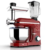 Nurxiovo 3 in 1 Stand Mixer, 850W Tilt-Head 7QT Kitchen Food Mixer, 6 Speed with Pulse Electric Mixer, Multifunction Standing Mixers, Meat Blender and Juice Extracter Red