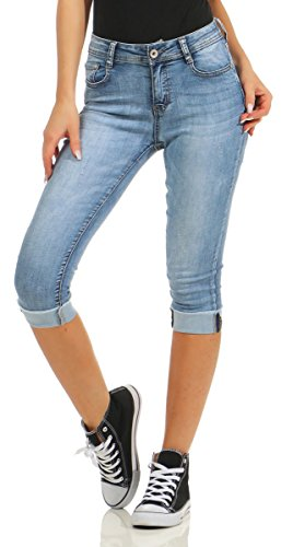 Fashion4Young 5978 Damen Capri Jeans Bermudas Shorts Kurze Hose...