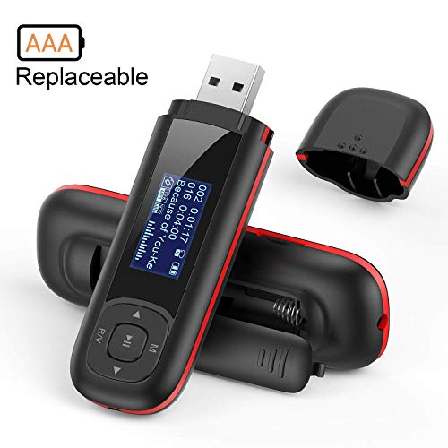 AGPTEK U3 USB Stick Mp3 Player, 8GB Music Player Supports Replaceable AAA Battery, Recording, FM Radio, Expandable Up to 128GB, Black