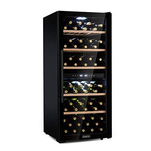 KLARSTEIN Barossa - Cantinetta Vini, Frigo Vini, 2 Zone, Temperatura: 5-18 C, Porta in Vetro, Display LCD, Illuminazione Interna a LED, Touch, LED, Nero, 102 Bottiglie