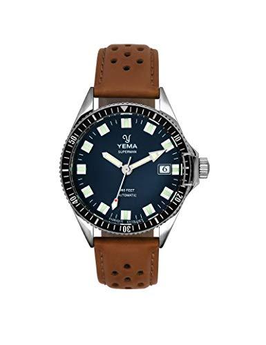 Yema Herren-Armbanduhr, Leder, Braun
