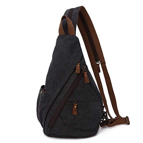 Segeltuch Sling Rucksack Sling Bag Umhängetasche Schultertasche Schulterrucksack Crossbag für Damen und Herren Daypack Sporttasche Crossbody Bags mit verstellbarem Schultergurt (6881-Black)