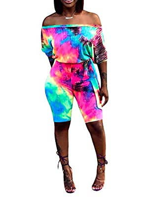 Women's Sexy Print Off Shoulder Jumpsuit Rompers with Belt Features: multicolored, off shoulder, half sleeve, print, tie belt, loose top, skinny cropped pants, one piece jumpsuits rompers This jumpsuit is perfect for summer daily wear, night club, go...
