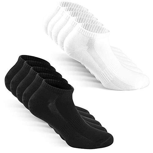 TUUHAW Calzini Uomo Donna Sportivi calze 10 Paia Traspirante Cotone Calze Nero Bianco 35-38