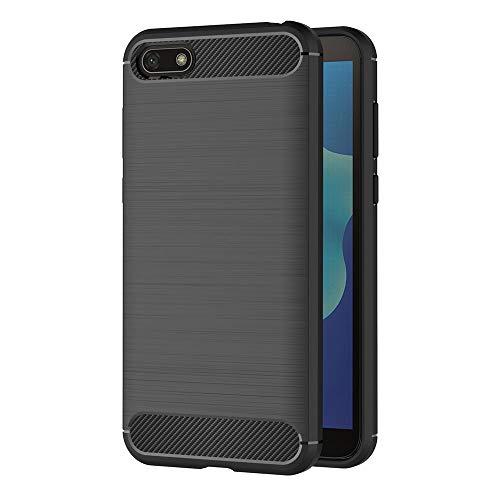 AICEK Cover Huawei Y5 2018, Nero Custodia Huawei Y5 2018 Silicone Molle Black Cover per Huawei Y5 2018 Soft TPU Case (5.45 Pollici)