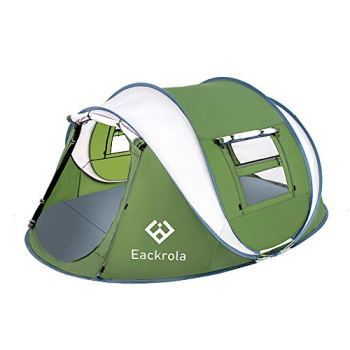Eackrola Pop Up Tent for Camping, Fits 2-3 Person (Adult) / 4-5 Kids Family Tent, Easy Setup Beach Tent Sun Shelter - Ventilated Mesh Windows, Water Resistant, Carry Bag Included (Green)