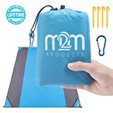 M2M Pocket Blanket - Outdoor Beach Blanket Sand Proof. Sand Free Beach Blanket fits 7 Adults - 80'x80' Packable Blanket - Sand Proof Beach Blanket w/bag. Portable Blanket for Travel,Hiking,and Camping