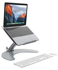 SLYPNOS Height-and-Angle Adjustable Aluminum Laptop Stand, Cooling Ventilated Laptop Platform Riser Holder with Non-Slip Pads, Front Lip for 13-17 Inches Laptop Tablet Notebook Smartphone, Silver