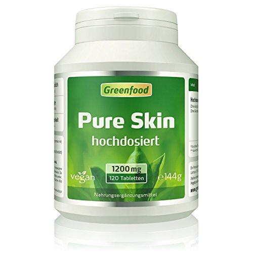 Pure Skin, 1200 mg, extra hochdosiert, 120 Tabletten, vegan – für schöne, reine Haut. Reguliert den Hormonspiegel. OHNE künstliche Zusätze. Ohne Gentechnik.