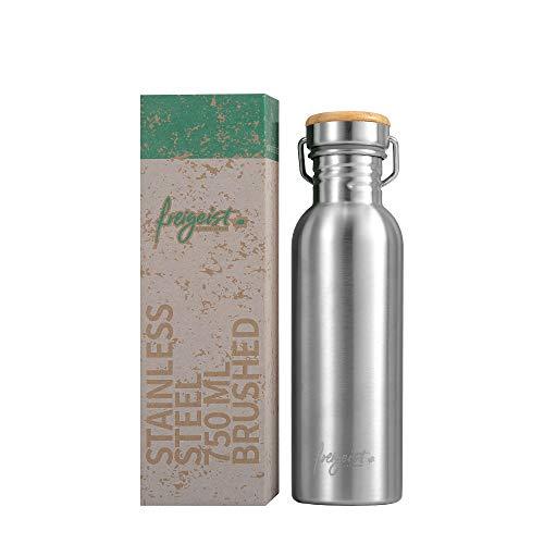 freigeist Trinkflasche Edelstahl 750 ml einwandig | Sportflasche BPA-frei dicht | Auslaufsichere Outdoorflasche mit Bambusdeckel (matt)