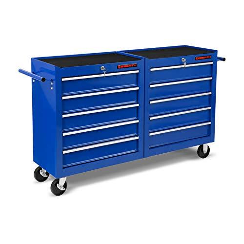 EBERTH Werkstattwagen blau (10 kugel-gelagerte Schubfächer, Antirutschmatten, abschließbar, 2 Lenkrollen, 2 Rollen mit Feststellbremse, pulverbeschichtet)