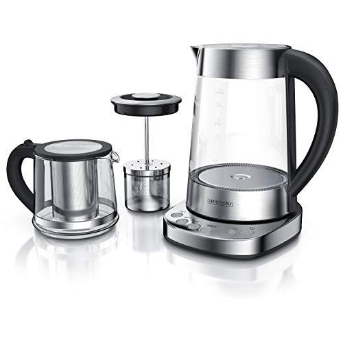 Arendo - Glas Wasserkocher mit Temperatureinstellung und Teesieb sowie Aufsatz - Türkischer Teekocher - Edelstahl - Temperaturen: 70, 80, 100 Grad - 1,7 Liter - 2400 Watt - Abschaltautomatik
