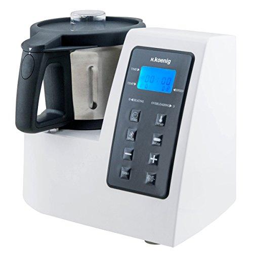 H.Koenig HKM1028 Küchenmaschine mit Kochfunktion / Temperatur von 0 bis 120 °C / Edelstahlschüssel 2 L / 1300 W Kochleistung