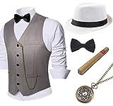 BABEYOND 1920s Mens Gatsby Gangster Vest Costume Accessories Set Manhattan Fedora Hat Bowtie Plastic Cigar Vintage Pocket Watch (Gray, Large