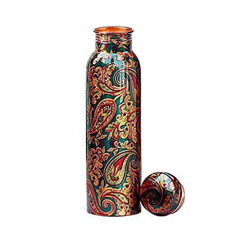 KC Pure Copper Designer Water Bottle with Advanced Leak Proof Protection and Joint Less, Ayurveda and Yoga Health Benefits. (1000ml, 1Unit) with Lacqure Coating