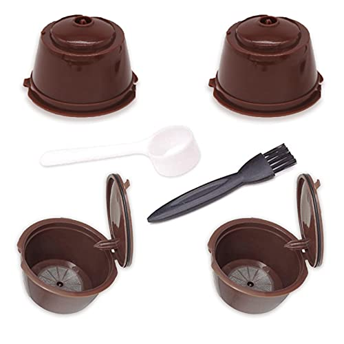 4 Pcs Capsule di Caffè Ricaricabili, Machine Filtro per Caffè ,Adatto a tutti i tipi di macchine da caffè,Tazza Filtro per Macchina da Caffè con 1 Cucchiai in Plastica e 1 Pennelli