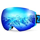 ZIONOR X4 Ski Snowboard Snow Goggles Magnet Dual Layers Lens Spherical Design Anti-fog UV Protection...