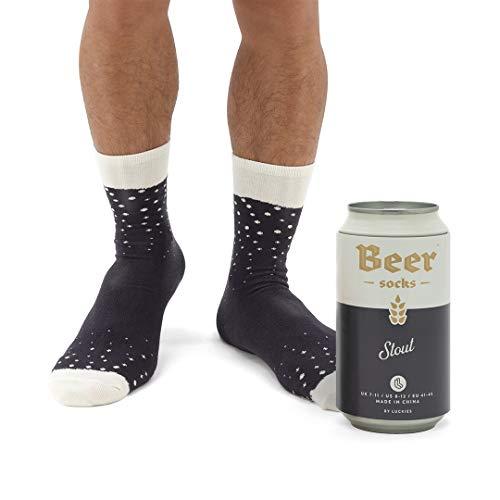 Luckies of London Soup Socks - Calzini da uomo colorati e divertenti con fantasia 'birra' in morbido misto cotone - Calzini particolari in lattina di birra - Stout scura